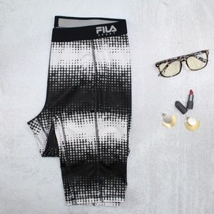 FILA Sport Black & White Running Legging Capri